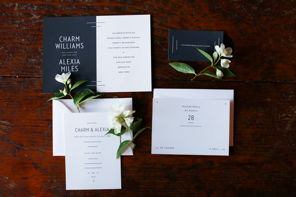 My Darlin' black and white invitation suite