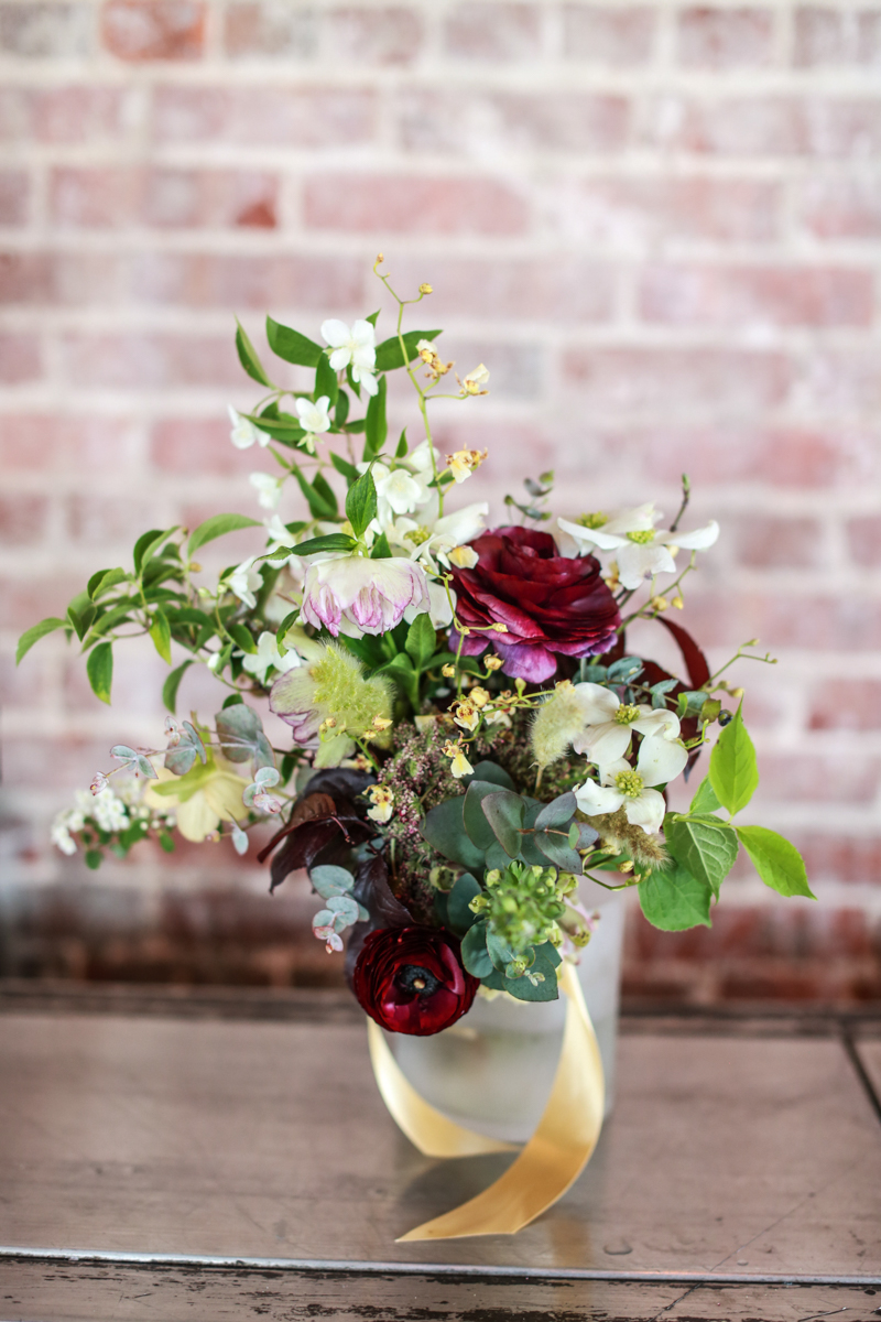 burgundy and green bouquet