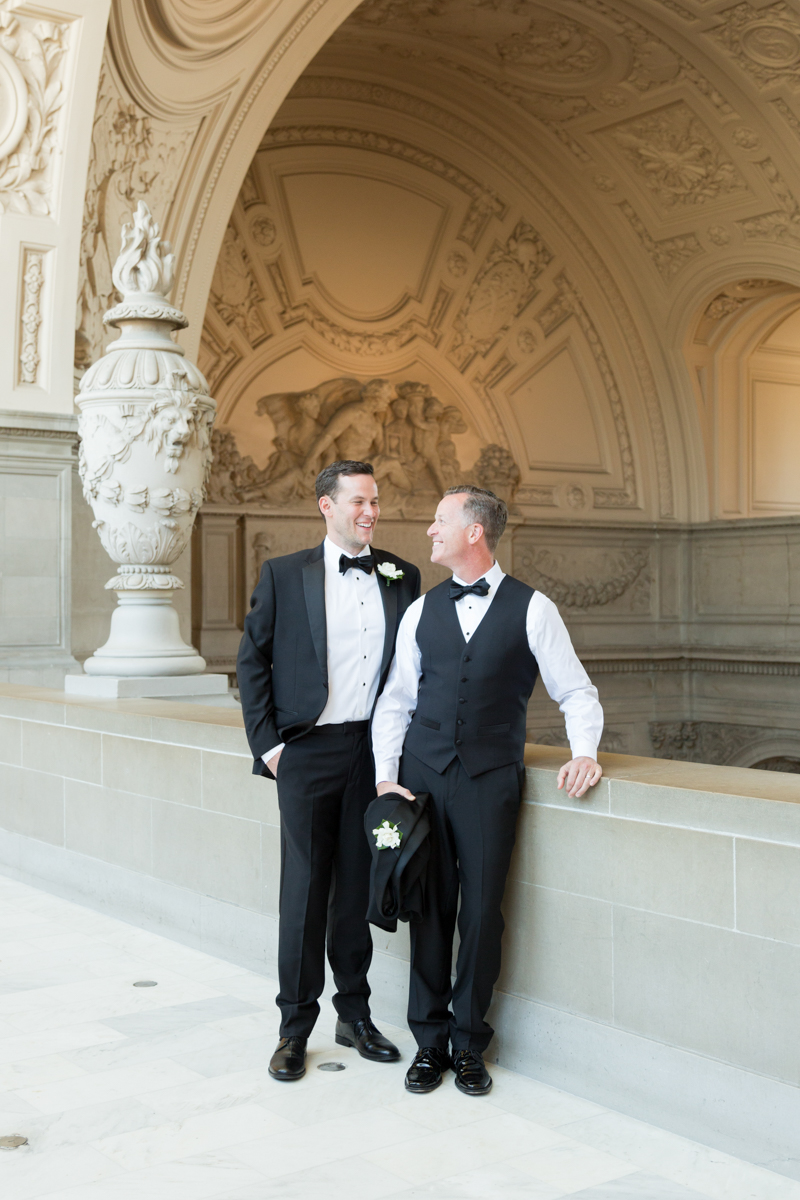 gay wedding portraits in tuxedos