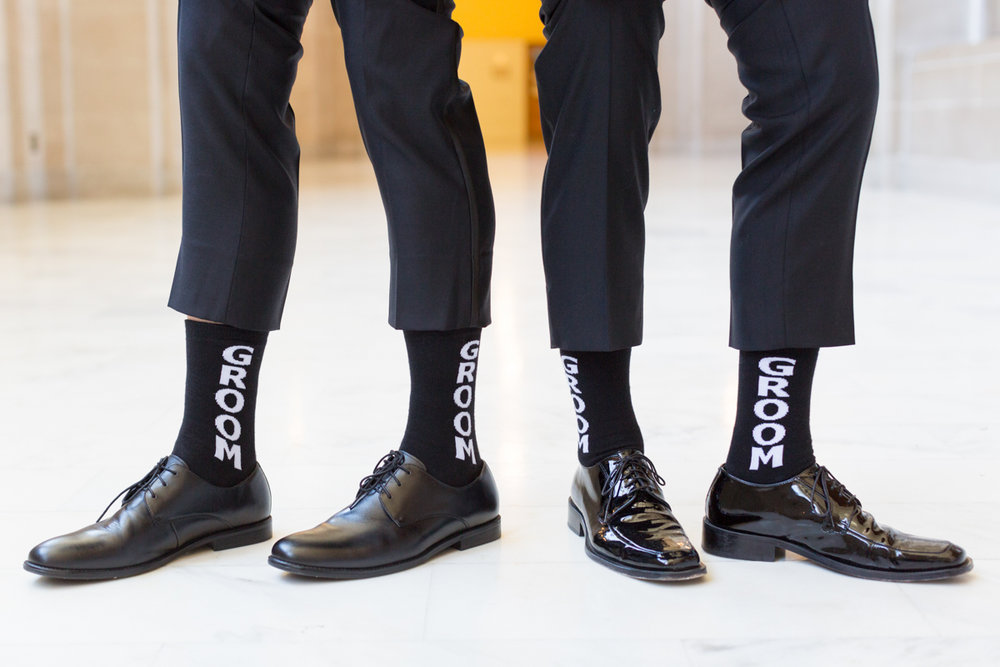 "Gay wedding ""groom"" socks on both grooms"