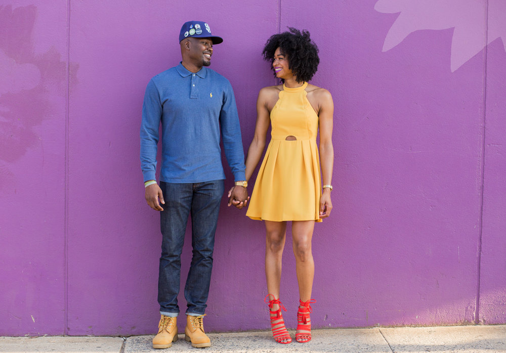 Black couple engagement photos with vibrant tones