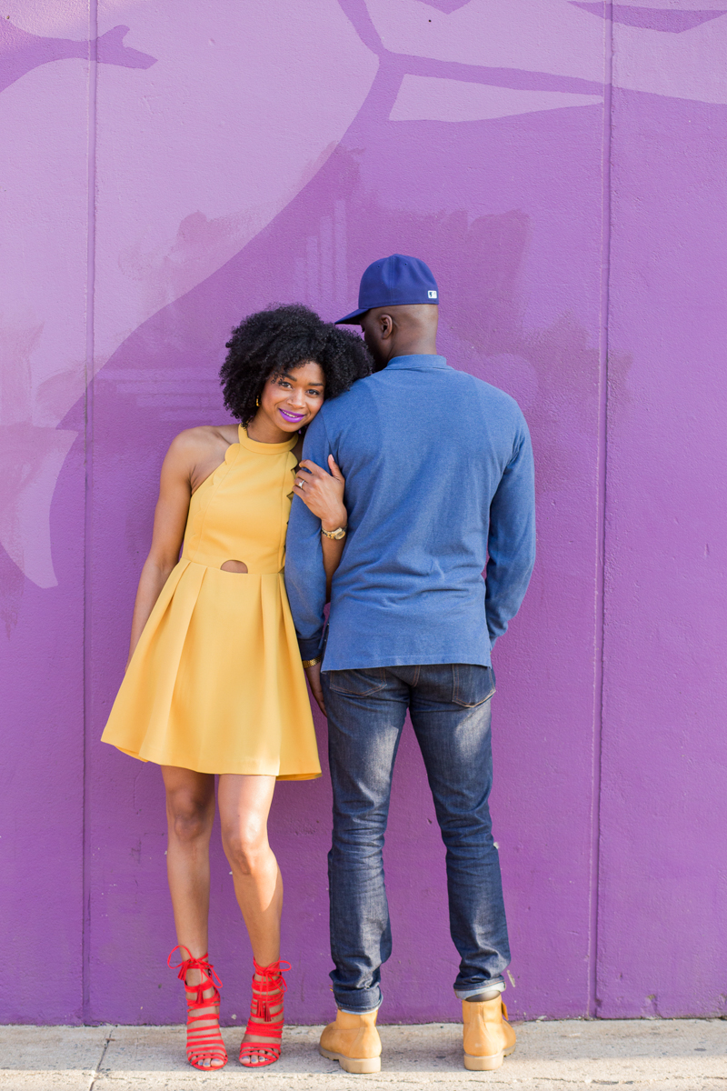 engagement session in bright yellow dress and timberlands