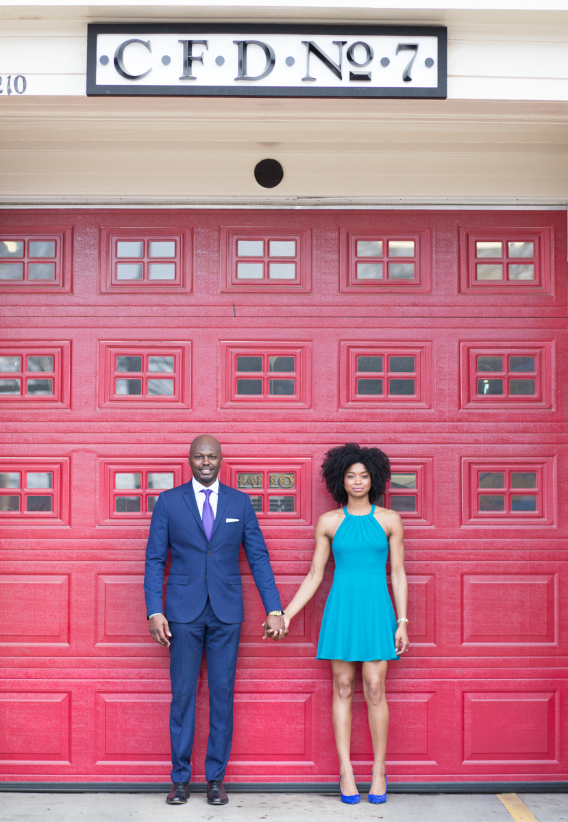Black couple engagement session