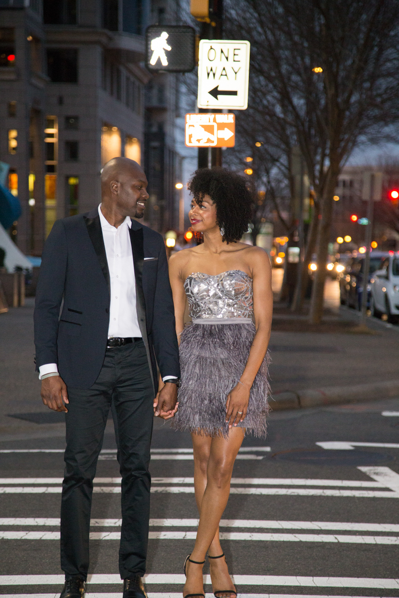 Downtown Charlotte cocktail engagement photos