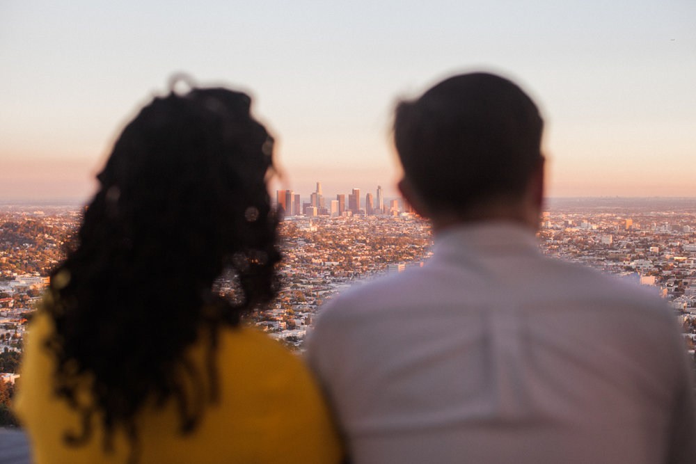 couple looking out over Los Angeles