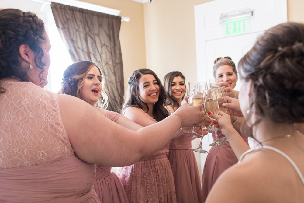 bridesmaid champagne cheers