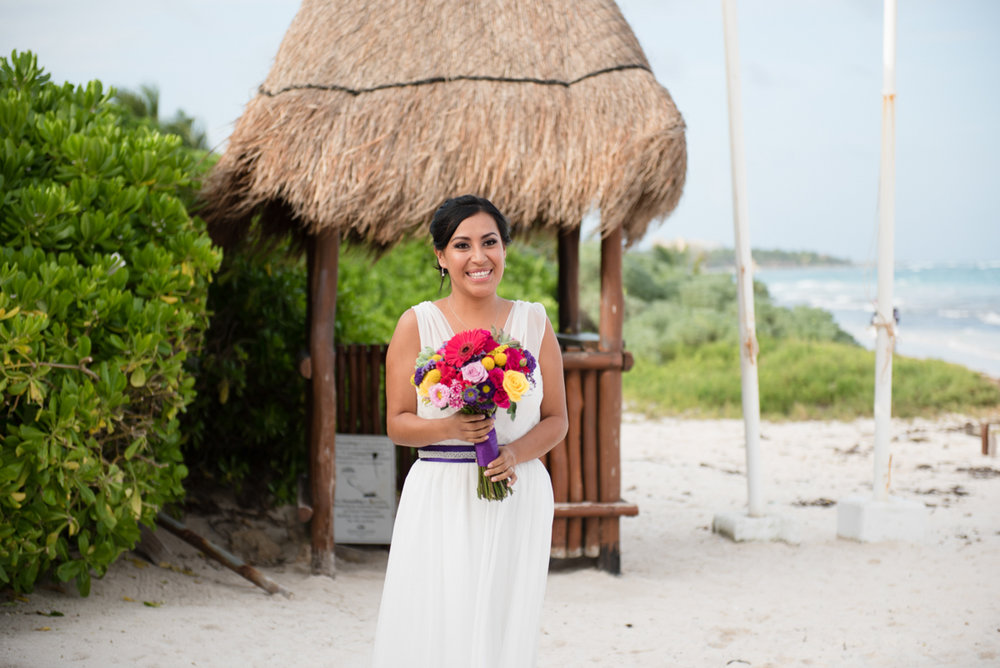 Bride in Mexico at her wedding in Cancun