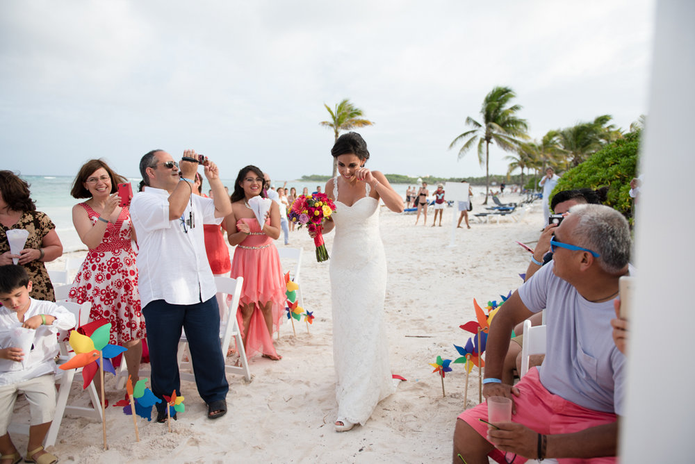 Bride walking into her wedding ceremony