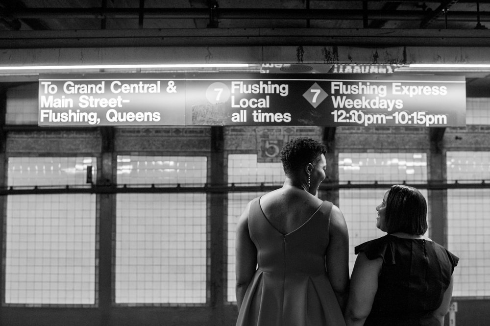 Engagement session on the subway in NYC