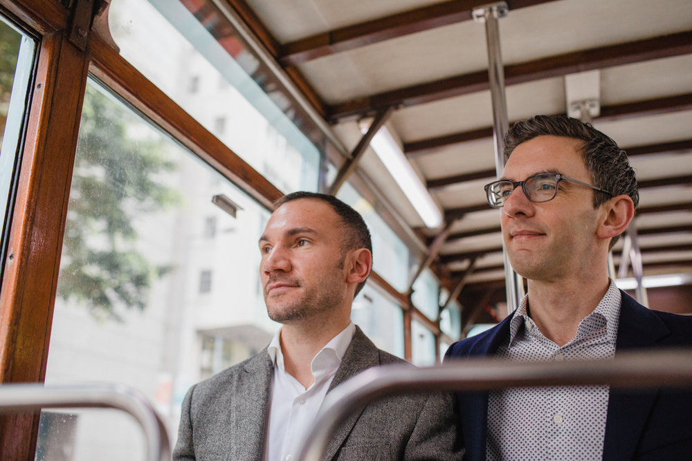 riding public transportation