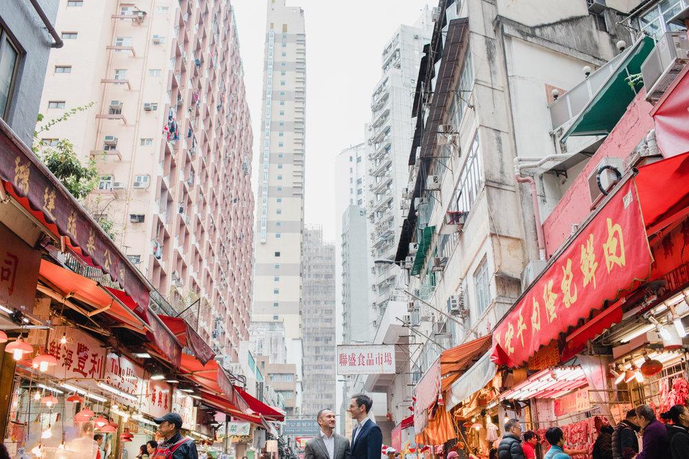 hong kong market and buildings