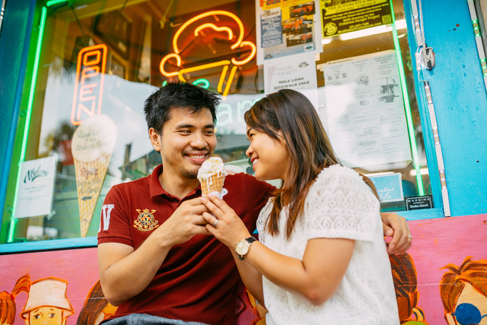 getting ice cream at your engagement session