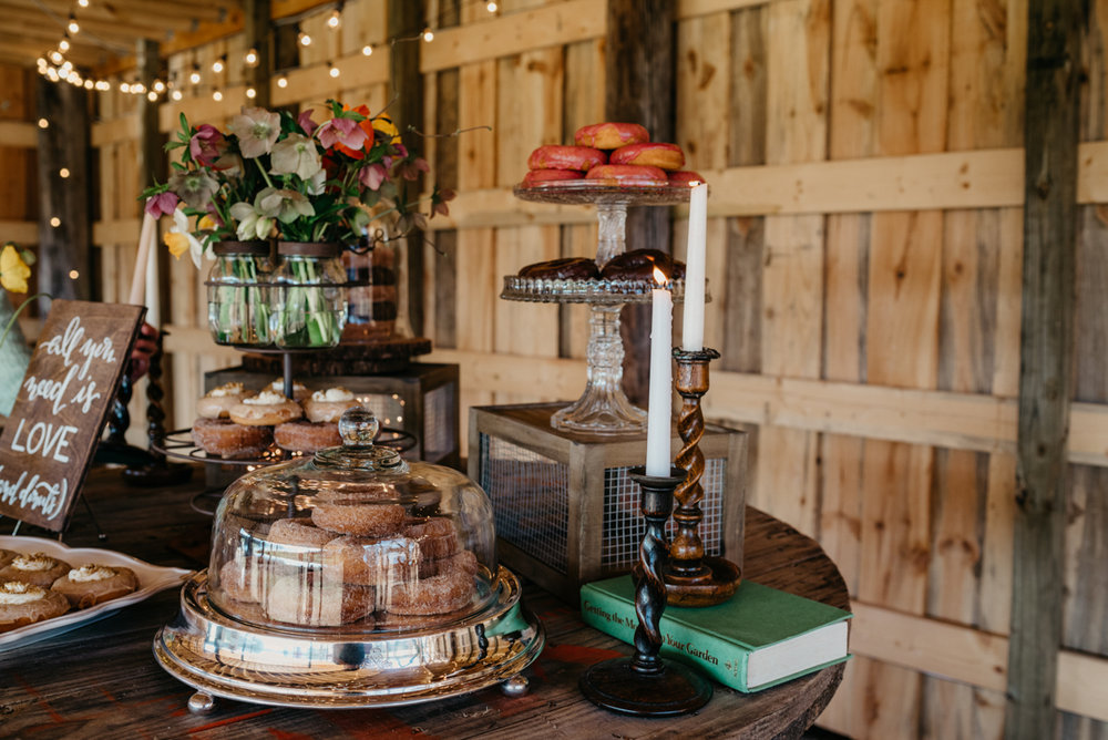 donut and dessert table