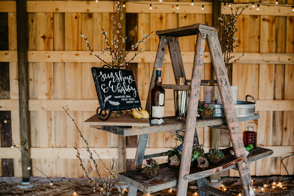 rustic wedding display