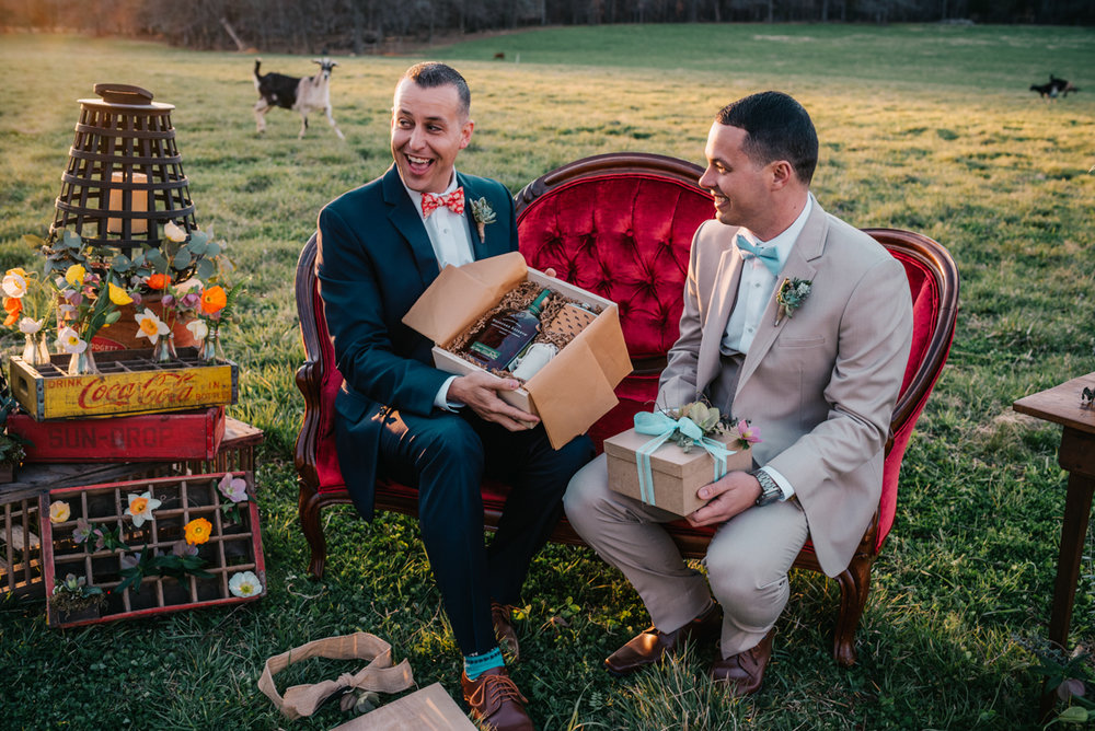 grooms exchanging wedding gifts