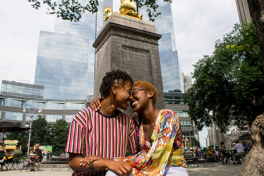 Central Park engagement photos by black queer photographer