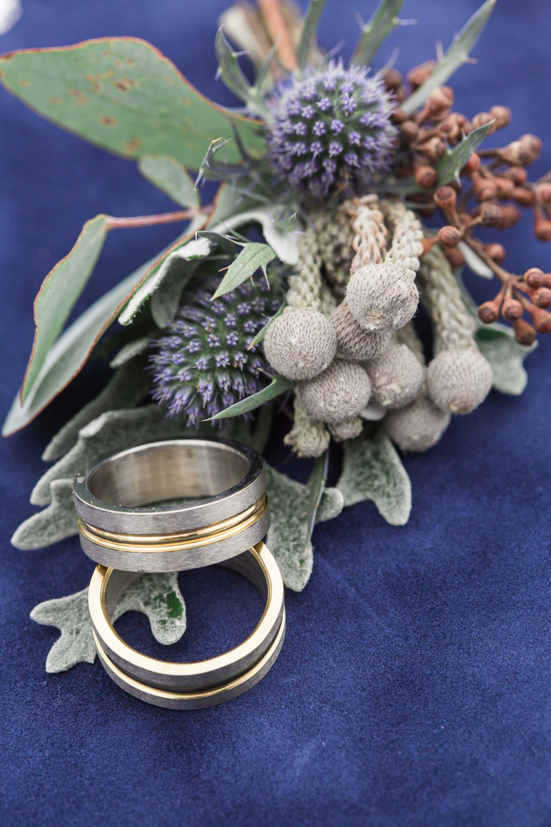 two grooms wedding rings with floral detail
