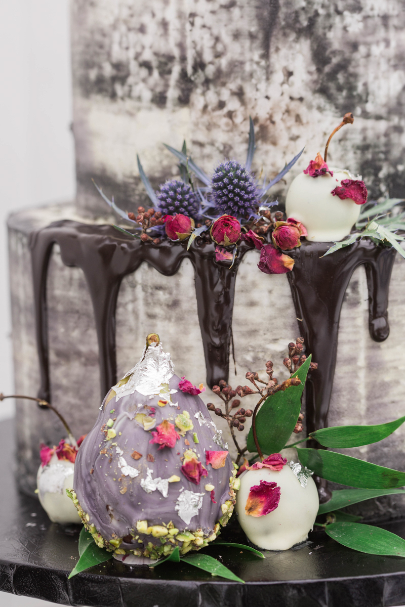 fancy chocolate dipped fruit decor