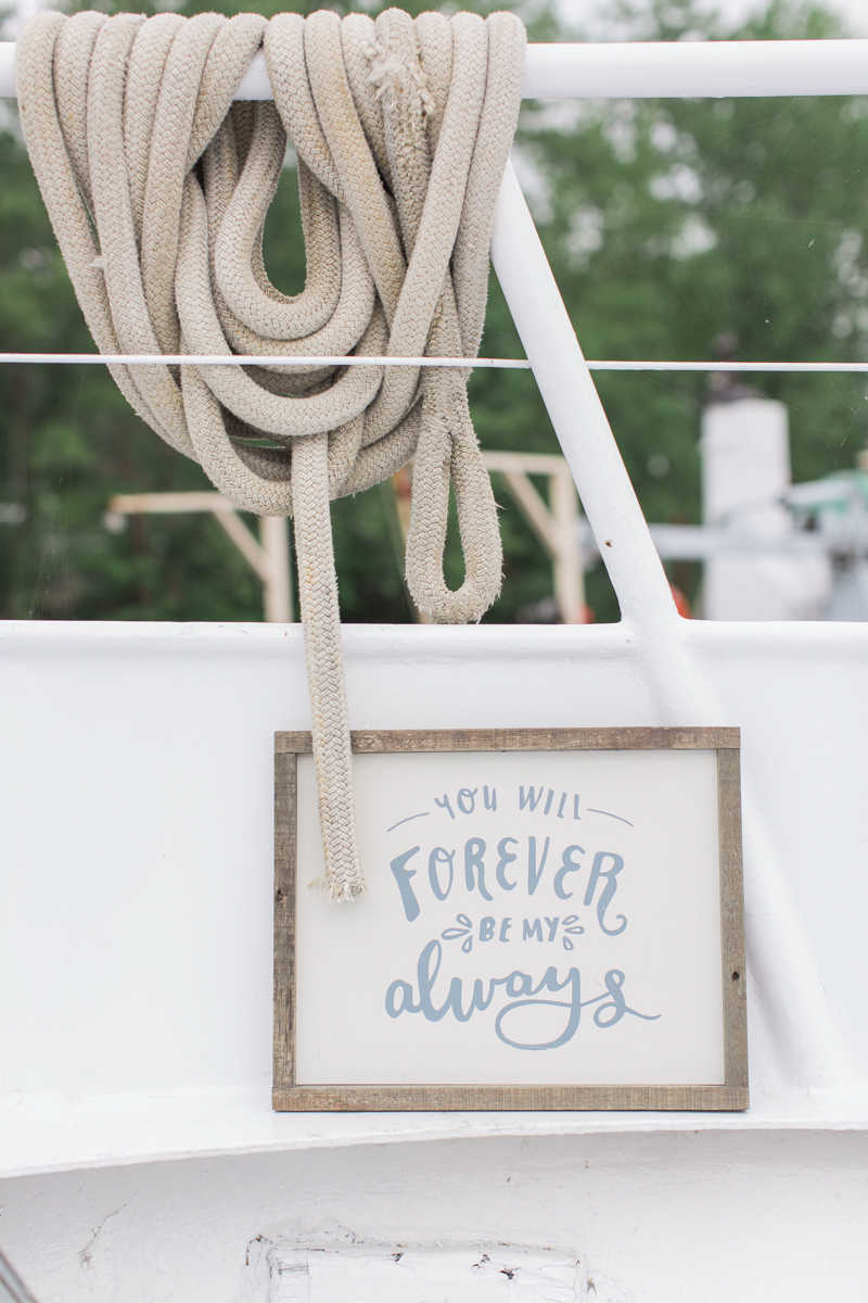 boat elopement decor
