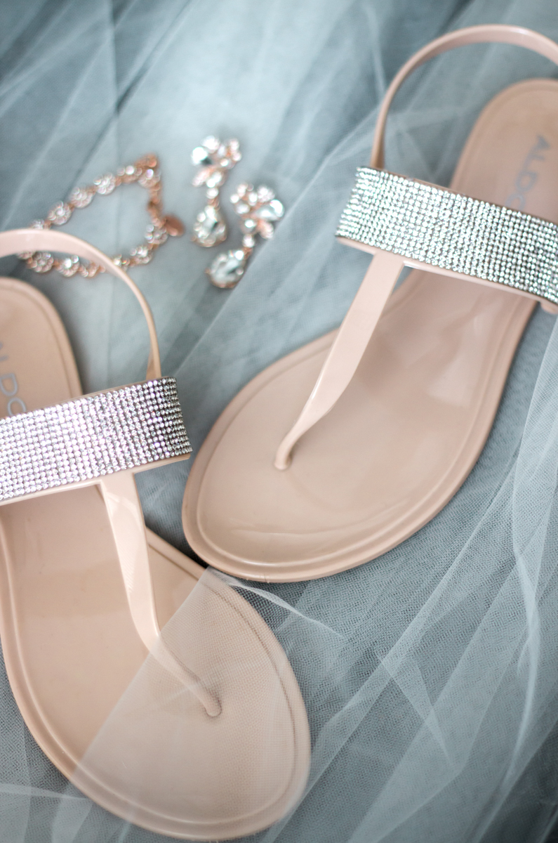 bride's blingy sandals