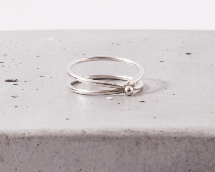 Elaine B Concentric Half Moon Ring