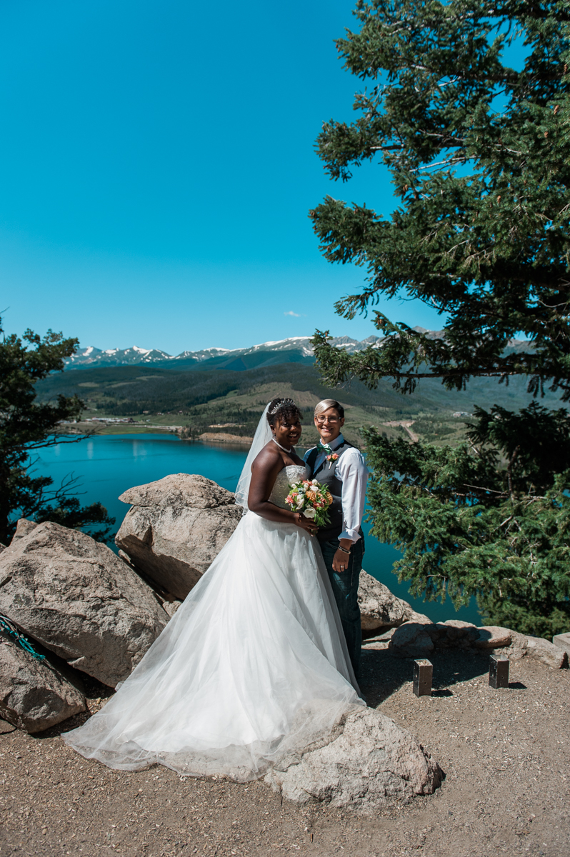 mountain elopement brides pose