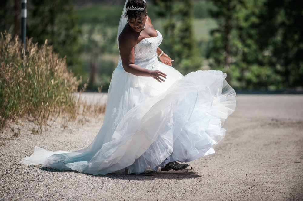 mountain elopement amber flipping dress skirt