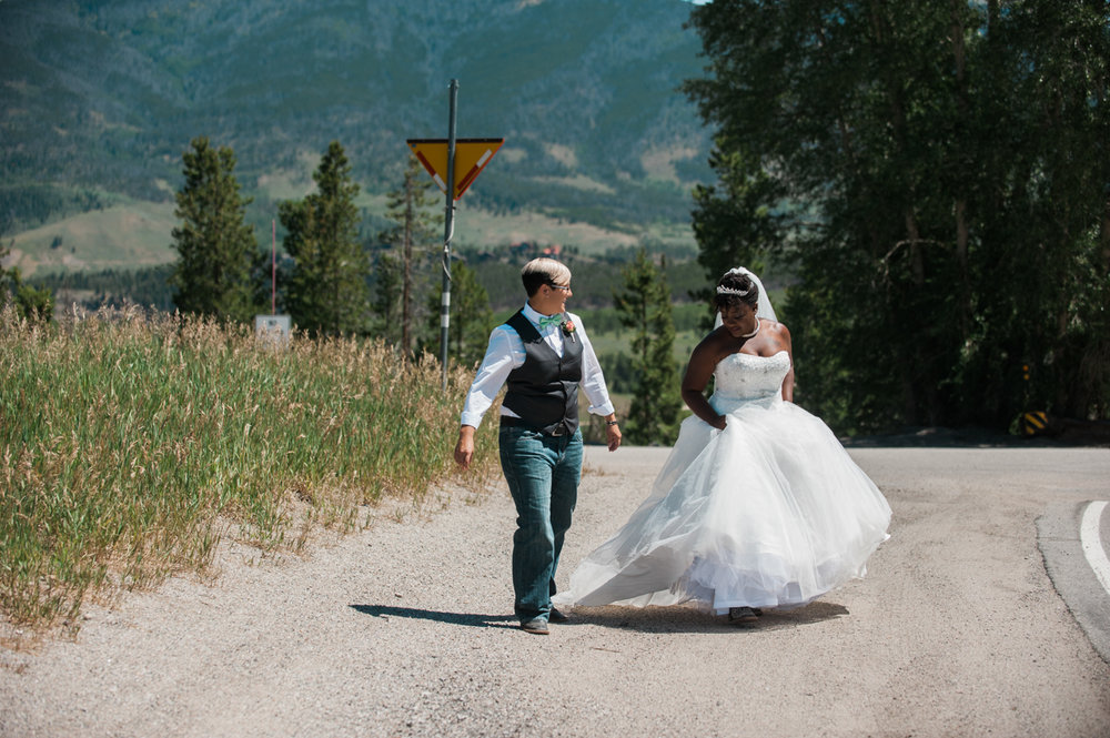 mountain elopement couple on dirt path