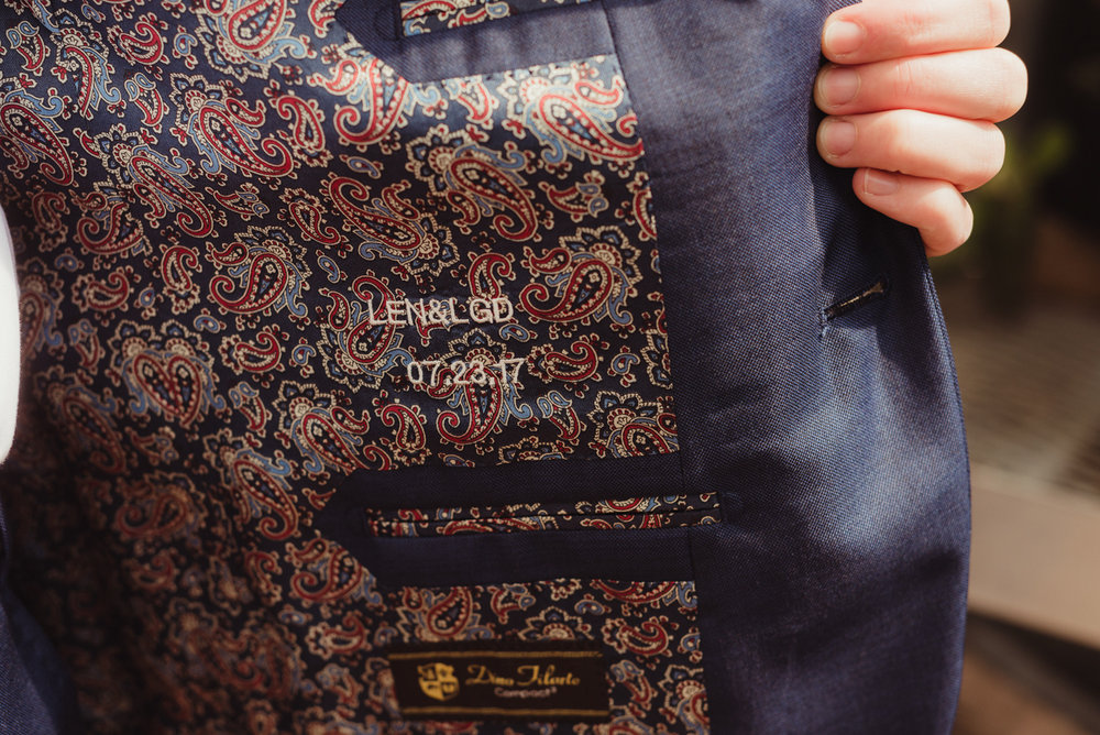 uc berkeley garden wedding jacket lining with couple's initials and date embroidered in