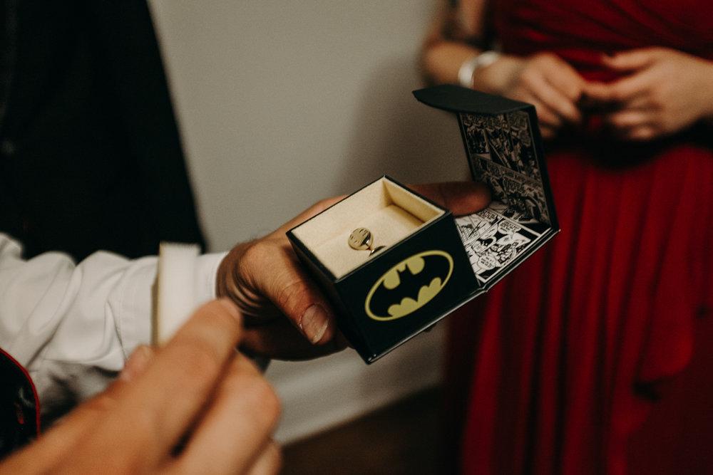 San antonio garden wedding batman cufflinks