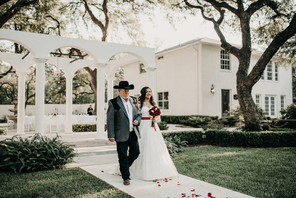 San antonio garden wedding orlando and her father walking down aisle