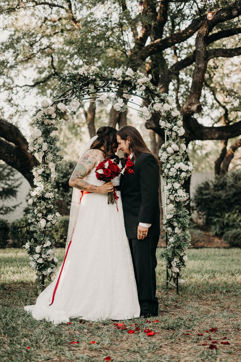 San antonio garden wedding couple at altar