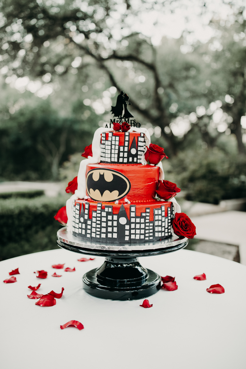 San antonio garden wedding batman wedding cake
