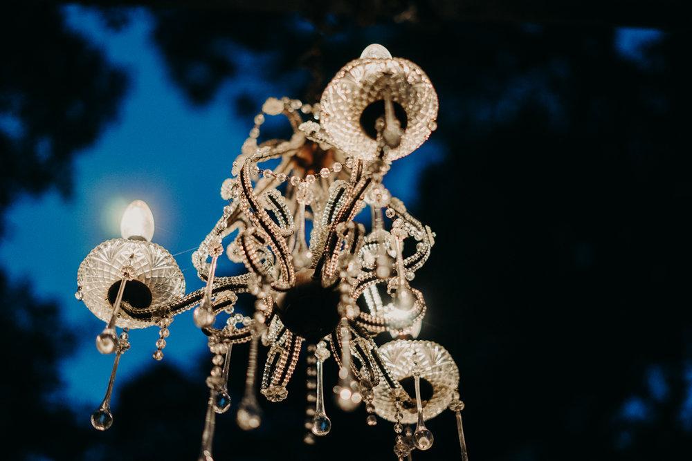 San antonio garden wedding chandelier
