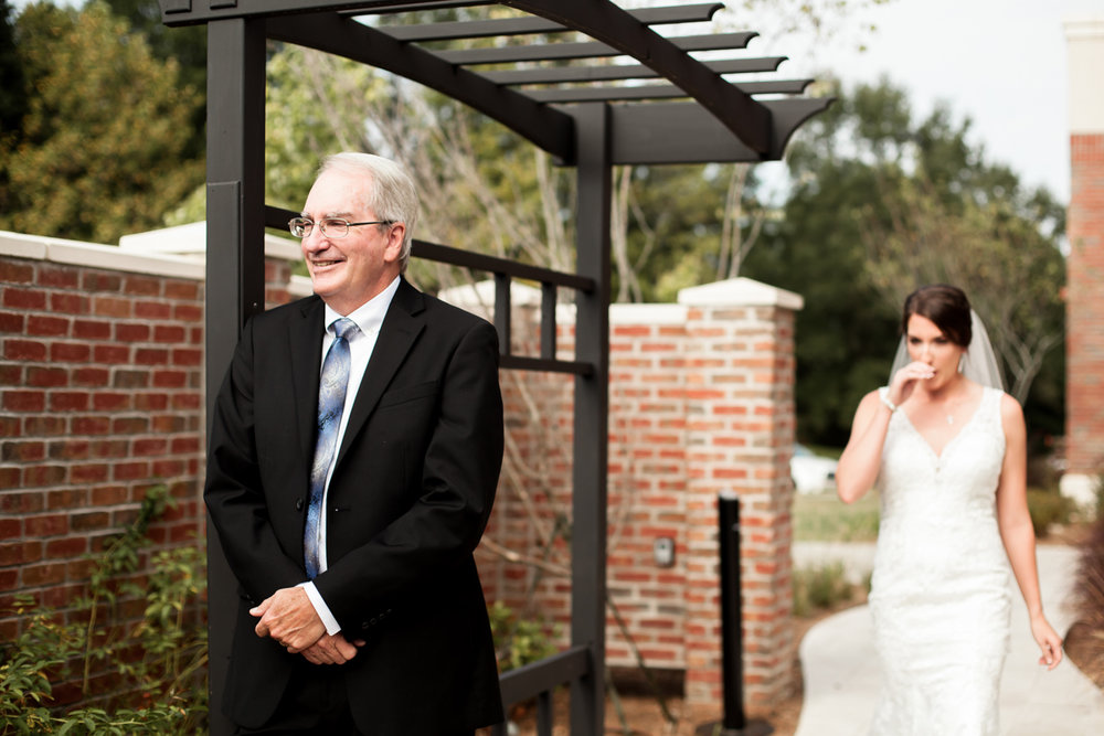 Ballroom wedding charlotte nc bride and father first look