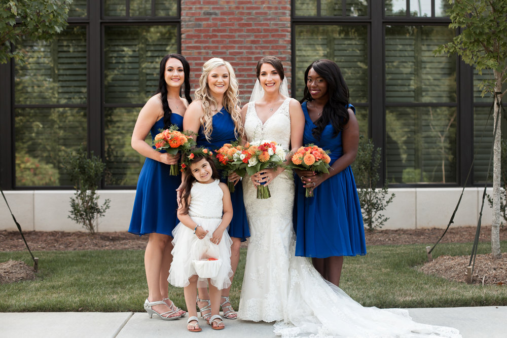 Ballroom wedding charlotte nc bride, bridesmaids, and flower girl