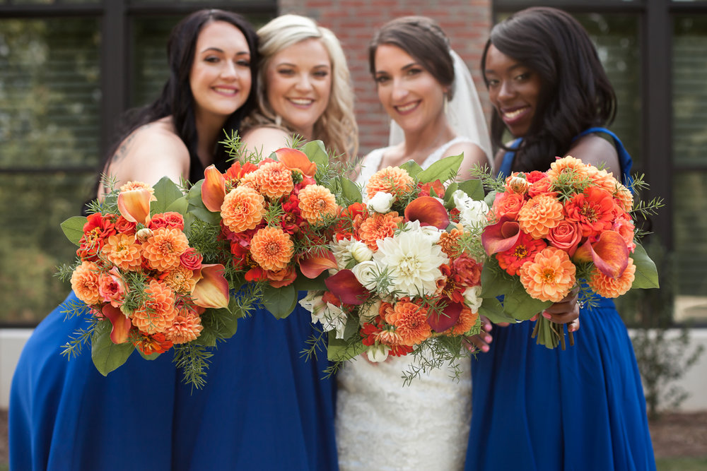 Ballroom wedding charlotte nc bride and bridesmaids' bouquets