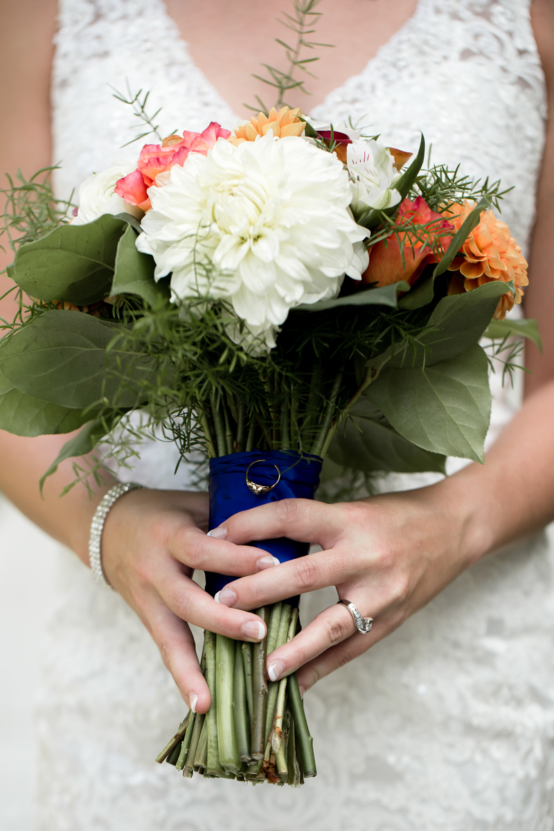 Ballroom wedding charlotte nc close-up of bride holding bouquet