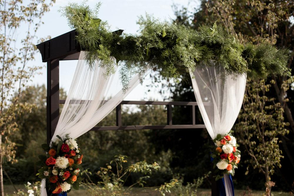 Ballroom wedding charlotte nc altar outside