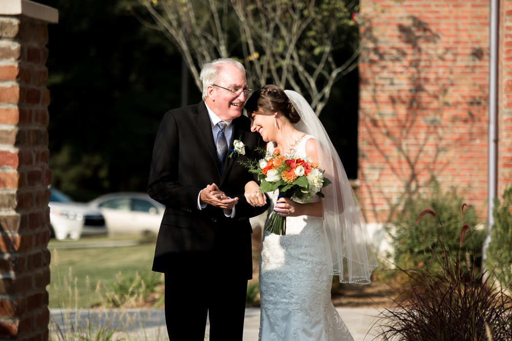 Ballroom wedding charlotte nc bride and dad linking arms