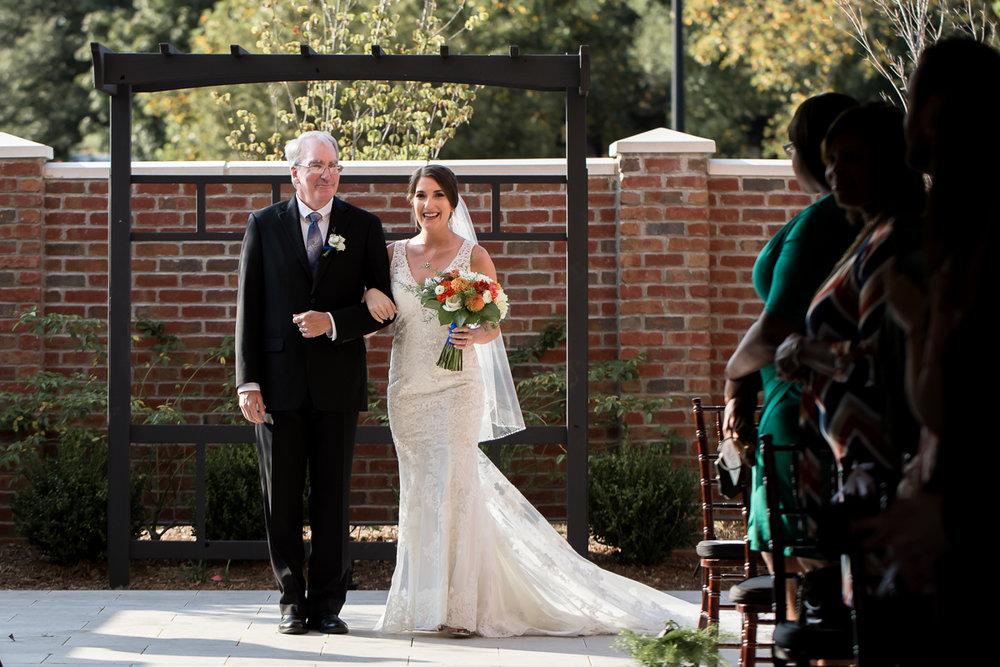 Ballroom wedding charlotte nc bride and father starting down aisle