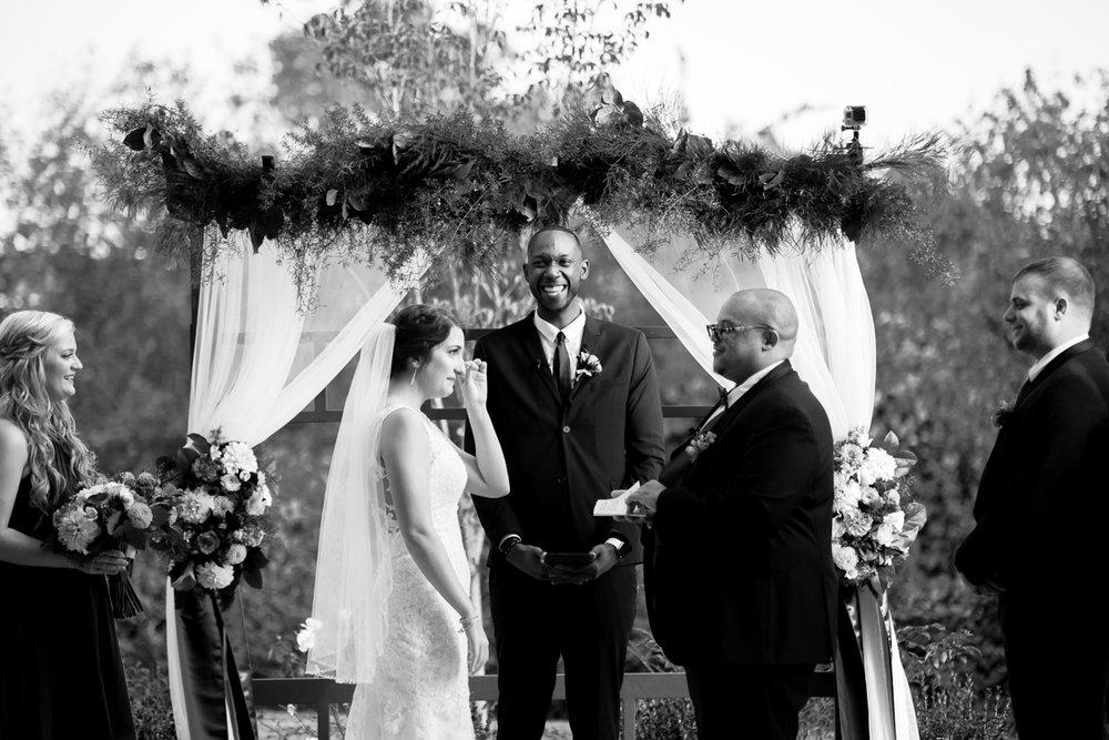 Ballroom wedding charlotte nc couple at altar