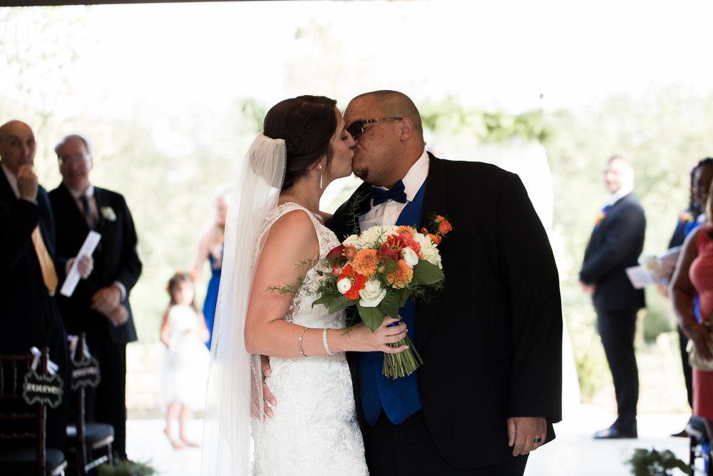 Ballroom wedding charlotte nc couple kiss