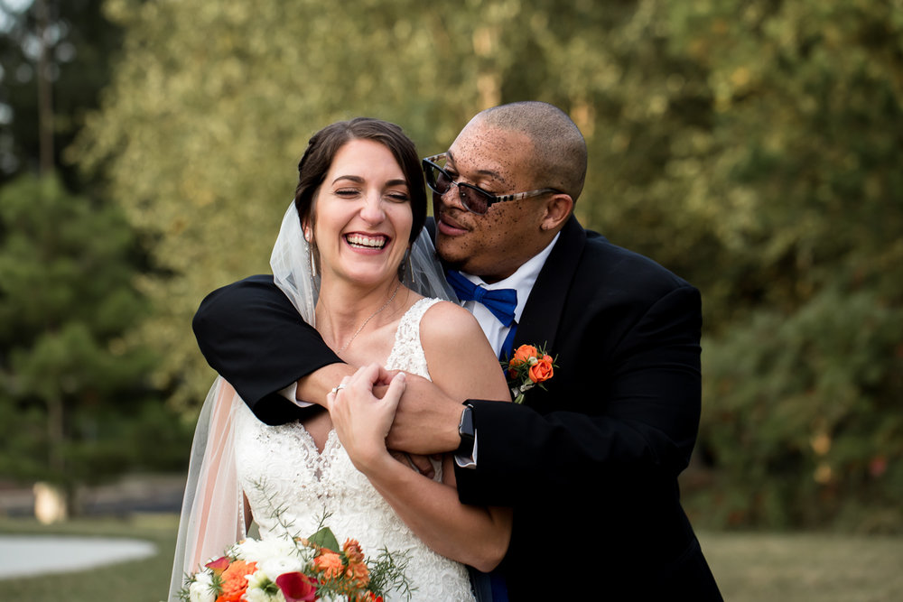 Ballroom wedding charlotte nc bride and groom smiling