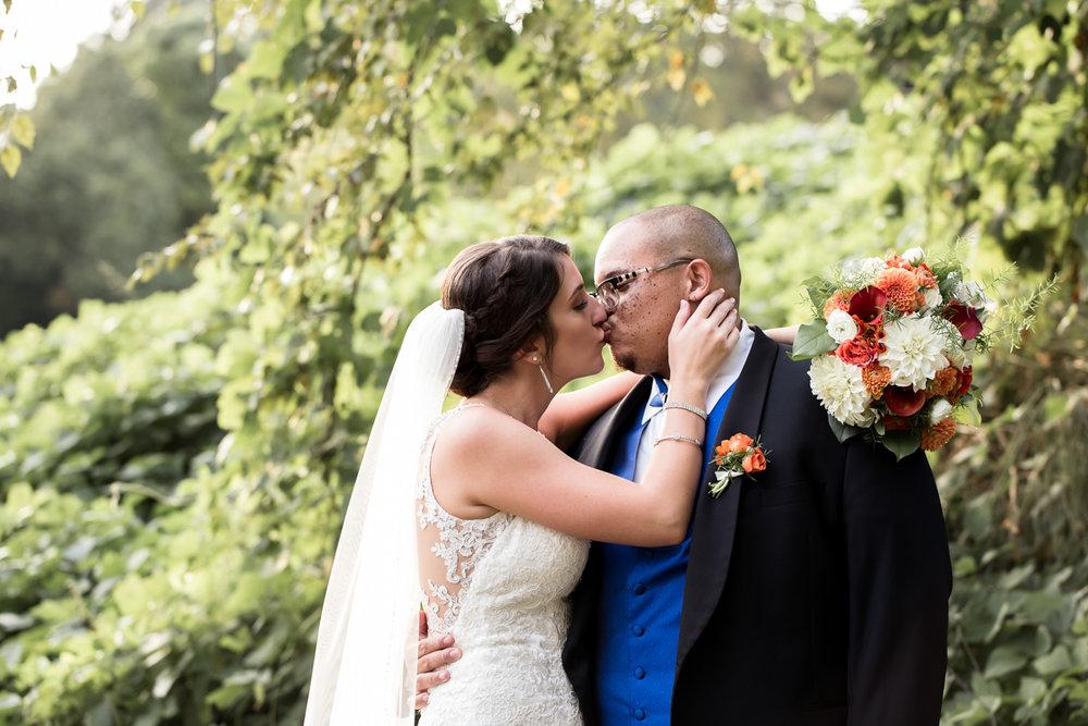 Ballroom wedding charlotte nc kiss by trees