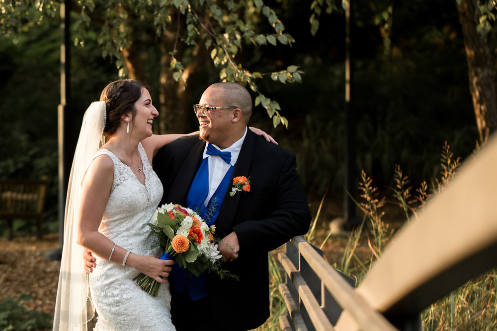 Ballroom wedding charlotte nc couple on bridge