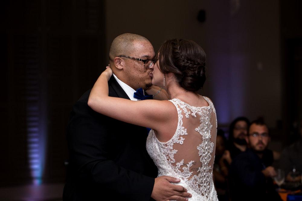 Ballroom wedding charlotte nc couple kiss on dance floor