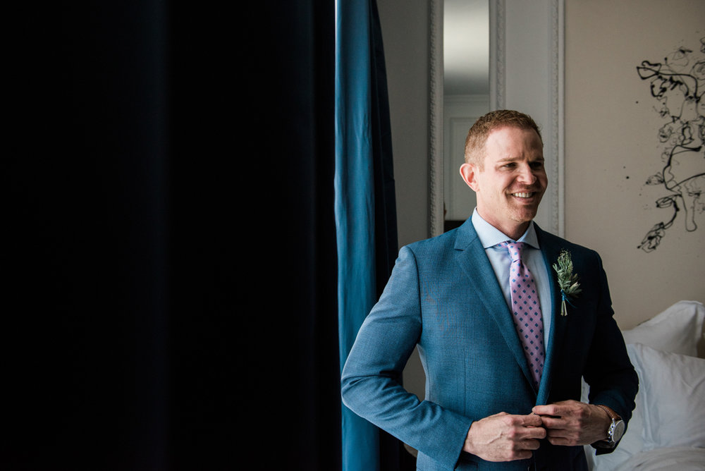 San Diego Museum of Art Wedding groom in tuxedo