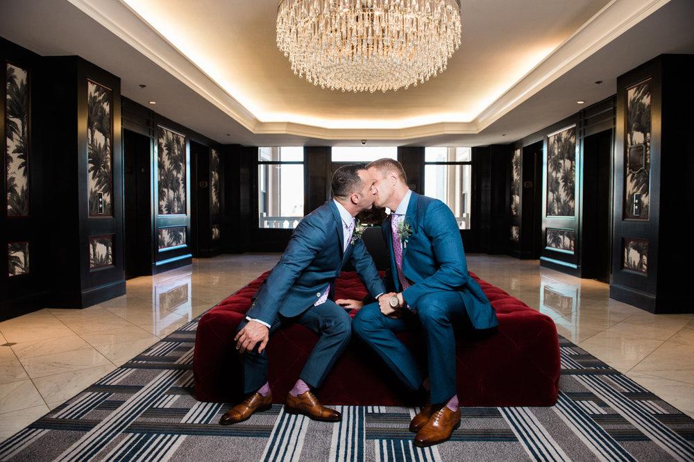 San Diego Museum of Art Wedding kiss in lobby