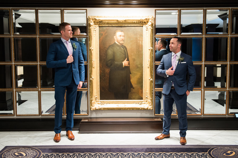 San Diego Museum of Art Wedding grooms copying portrait